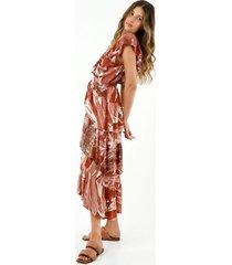 vestido de mujer, maxi largo, con boleros decorativos y estampado de palmeras