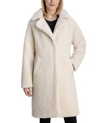 bcbgeneration notch-collar teddy coat, created for macy's