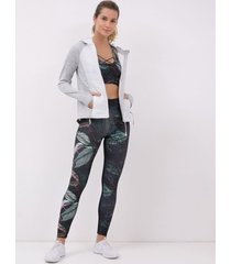 jaqueta esportiva lisa com manga raglan