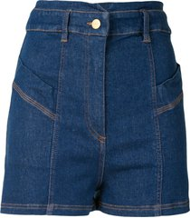 manning cartell high rise fitted denim shorts - blue