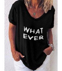 camiseta de manga corta con cuello en v y estampado de letras