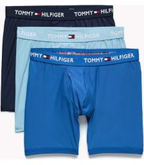 tommy hilfiger men's microfiber boxer brief 3pk blue multi - s
