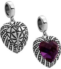 berloque joia em casa coração violeta prata