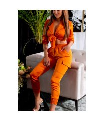 trendy set satijn look broek & crop top oranje