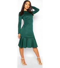 long sleeve fish tail midi dress, bottle green