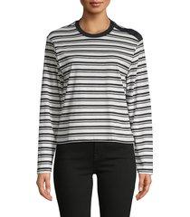 atm anthony thomas melillo women's striped cotton top - cream navy - size s