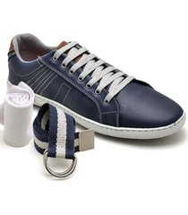 kit 2 sapatênis casual com meia e cinto dexshoes masculino - masculino