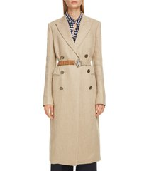 women's victoria beckham linen coat with leather belt