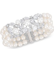 arabella cultured freshwater pearl (6-8mm) & swarovski zirconia cuff bracelet in sterling silver, created for macy's