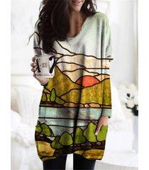 camicetta da donna con scollo a v manica lunga stampa paesaggio tasche