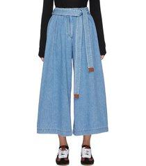belted wide leg crop denim jeans