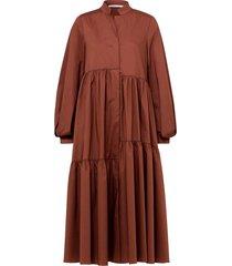 poplin power dress in nougat brown