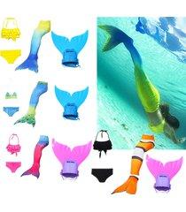 2017 summer mermaid tail with monofin swimmable swimsuit bikini top + panties