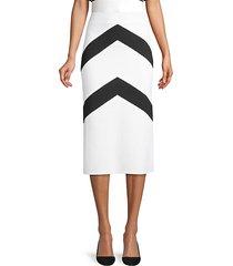 chevron stripe knit midi skirt