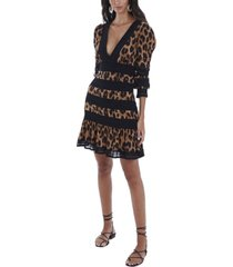 allison new york women's leopard lace trim mini dress