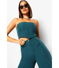 getailleerde bandeau crop top, teal