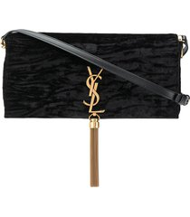 saint laurent kate velvet crossbody bag - black
