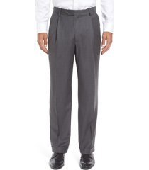 men's berle super 130s gabardine pleated trousers, size 31 x unhemmed - grey