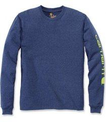 carhartt shirt men sleeve logo l/s deep blue indigo-m