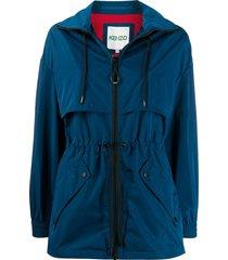 kenzo drawstring-waist high neck coat - blue