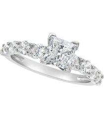 certified princess cut diamond engagement ring (2 ct. t.w.) in 14k white gold, rose gold, or yellow gold