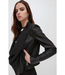 motivi giacca in similpelle con scollo drappeggiato donna nero