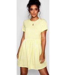 gestreepte gesmokte jurk met geplooide taille, citroen