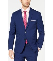 vince camuto men's slim-fit stretch wrinkle-resistant blue check suit jacket