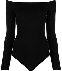 gabriela hearst klara drop-shoulder bodysuit - black