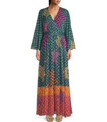 ted baker women's printed kaftan maxi dress - olive - size 1 (4)