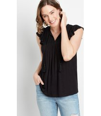maurices womens solid lace yoke tassel top