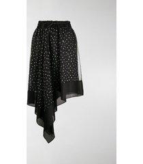 sacai polka-dot print asymmetric skirt