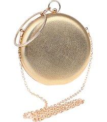 bolsa clutch liage redonda alça removível argola punho metalizada metal strass cristal pedra dourada