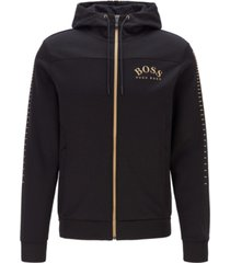 boss men's cotton-blend zip-through hoodie