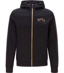 boss men's cotton-blend zip-through hoodie