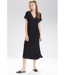 natori zen floral t-shirt nightgown, women's, black, size l natori