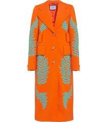 prada fern motif beaded long coat - orange