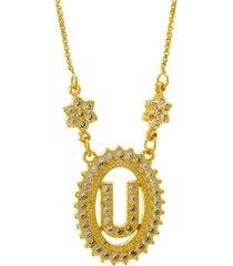 colar horus import letra u zircônia banhado ouro 18k feminino