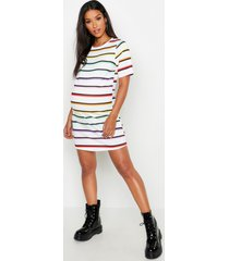 maternity rainbow stripe t-shirt dress, white