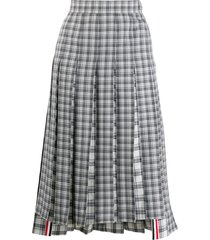 thom browne checked pleated skirt - grey