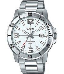 reloj casio mtp-vd01d-7b análogo plateado para hombre