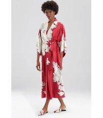 natori opulent robe, women's, red, size m natori