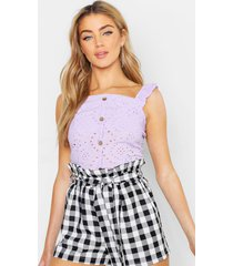 broderie anglaise button top, lilac