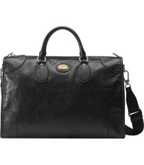 men's gucci medium interlocking-g leather carry-on duffle bag -