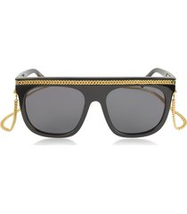 stella mccartney designer sunglasses, sc0043s acetate shield women's sunglasses w/goldtone chain