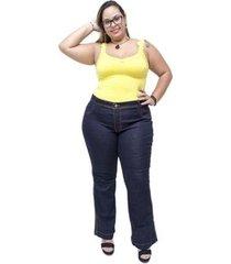calça jeans feminina credencial plus size flare emillye