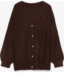 womens blowing hot air balloon sleeve cardigan - brown