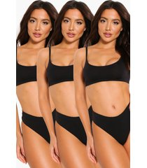 3 pack seamfree scoop bralette, black