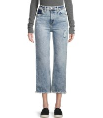 c & c california women's high-rise cropped distressed wide-leg jeans - blue - size 4