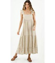 vestido de mujer, diseño midi, cuello cuadrado con boleros , color crudo
